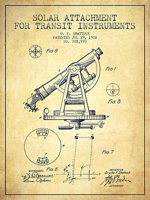 Solar Attachement For Transit Instruments Patent From 1902 - Vin Art Print