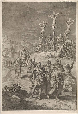 Eclipse Drawing - Solar Eclipse At The Death Of Christ, Jan Luyken by Jan Luyken And William Broedelet