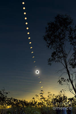 Changing Form Photograph - Solar Eclipse Composite, Queensland by Philip Hart