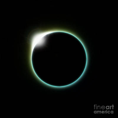 Solar Eclipse Digital Art - Solar Eclipse Moon by Antony McAulay
