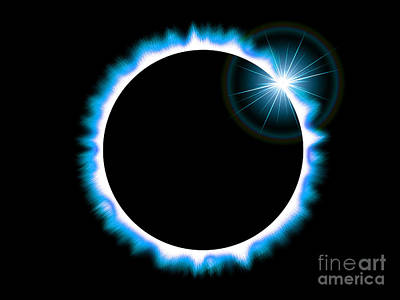Cosmological Digital Art - Solar Eclipse Of The Sun - Blue Version by Shazam Images