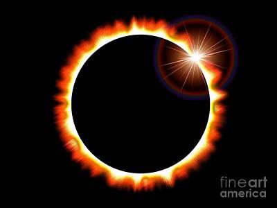 Cosmological Digital Art - Solar Eclipse Of The Sun - Orange Version by Shazam Images