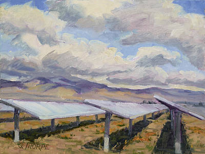 Reflective Surfaces Painting - Solar Farm Poppies by Jane Thorpe