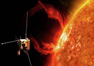 Solar Orbiter Spacecraft Art Print by European Space Agency/aoes