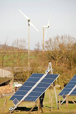 Solar Panels And Wind Turbines Print by Ashley Cooper