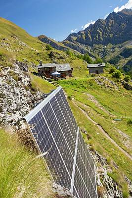 Grid Photograph - Solar Panels Attached To A Cliff by Ashley Cooper