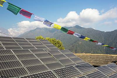 Renewable Energy Photograph - Solar Panels In Himalayas by Ashley Cooper