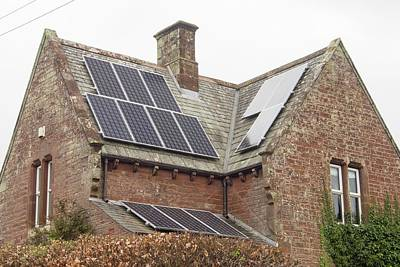 Red Sandstone Photograph - Solar Panels On A House by Ashley Cooper