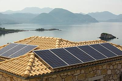 Solar Panels On A House Roof In Sivota Print by Ashley Cooper