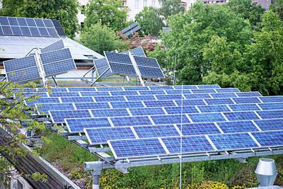 Solar Panels On Green Roof Art Print