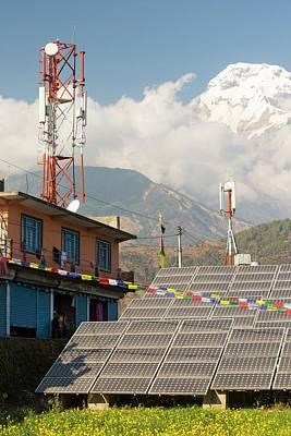 Renewable Energy Photograph - Solar Photo Voltaic Panels At Ghandruk by Ashley Cooper