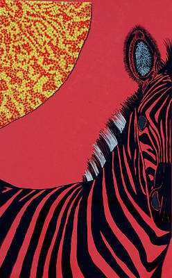 Solar Red Zebra Art Print by Patrick OLeary