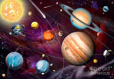 Intergalactic Space Digital Art - Solar System 2 by Garry Walton