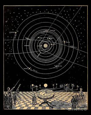 Planetary System Drawing - Solar System Diagram Circa 1855 by Asa Smith