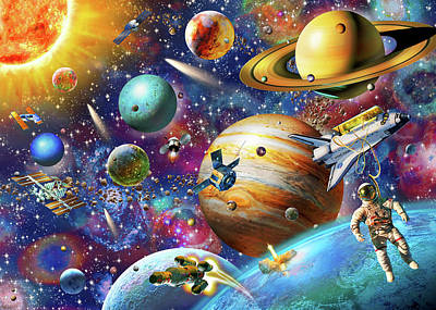 Shit Wall Art - Painting - Solar System Odyssey by Adrian Chesterman
