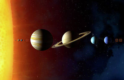 Neptune Wall Art - Photograph - Solar System's Planets by Mark Garlick/science Photo Library