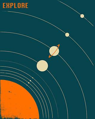 Planet Digital Art - Solar Sytem by Jazzberry Blue