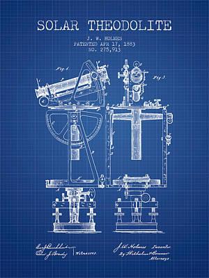 Telescope Digital Art - Solar Theodolite Patent From 1883 - Blueprint by Aged Pixel