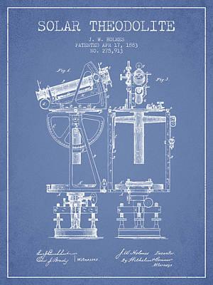 Telescope Digital Art - Solar Theodolite Patent From 1883 - Light Blue by Aged Pixel