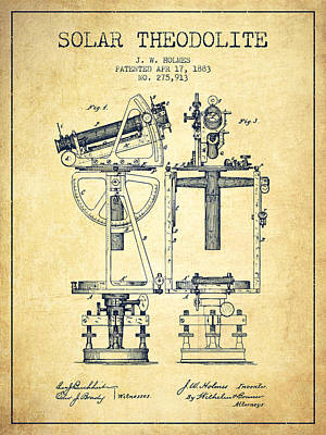Old Blueprint Digital Art - Solar Theodolite Patent From 1883 - Vintage by Aged Pixel