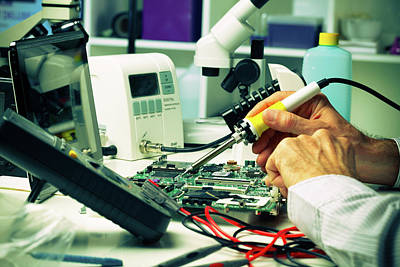 Circuit Board Photograph - Soldering Micro Chip by Wladimir Bulgar