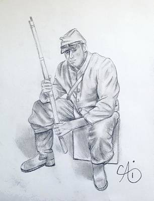 Drawing - Waiting Soldier by Ai P Nilson