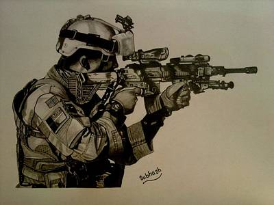 Terrorist Drawing - Soldier Colt Situation Afghanistan by Subhash Mathew
