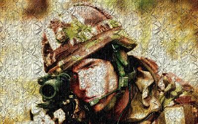 Gun Photograph - Soldier by VRL Art
