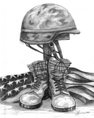 Dog Drawings Drawing - Soldiers Cross Remember The Fallen by J Ferwerda