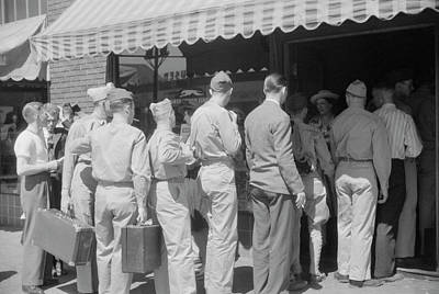 Old Bus Stations Photograph - Soldiers From Fort Benning At The Bus by Stocktrek Images