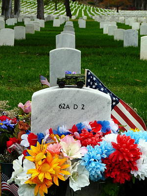 Photograph - Soldier's Grave Decorated by Jeff Lowe