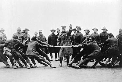 Segregation Photograph - Soldiers Have Tug Of War by Underwood Archives