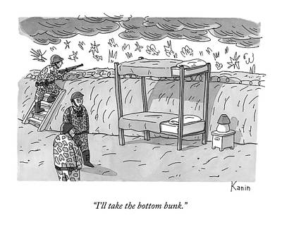 Bunk Drawing - Soldiers In A Trench Talk.  There Is A Bunk Bed by Zachary Kanin