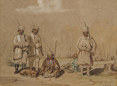 Romanian Photograph - Soldiers Relaxing, 1844 Wc & Gouache On Paper by Georges de Bellio