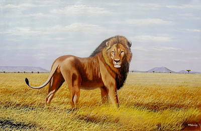 Painting - Sole Lion by Wycliffe Ndwiga