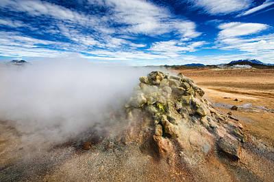Solfatara Field Hverir With Steaming Fumarole In Iceland Art Print by Matthias Hauser