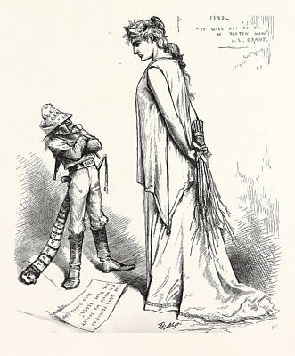 Solid And Defiant Ever, Engraving 1880 Art Print by American School