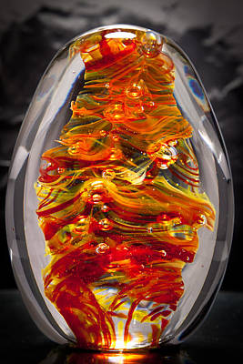 Flames -  Solid Glass Sculpture 13e5 Original