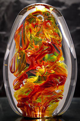 Solid Glass Sculpture - 13e8 - Extreme Flames Original by David Patterson