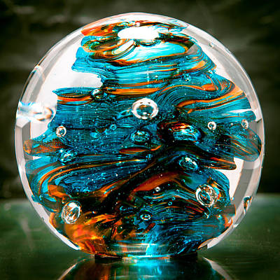 Glass Art - Solid Glass Sculpture 13r6 Teal And Orange by David Patterson