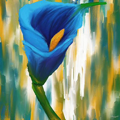 Lilies Digital Art - Solitary Blue by Lourry Legarde