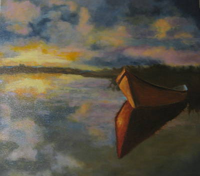 This Work Is Sold Painting - Solitary Boat by Brent Moody