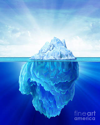 Global Warming Digital Art - Solitary Iceberg In The Sea by Leonello Calvetti