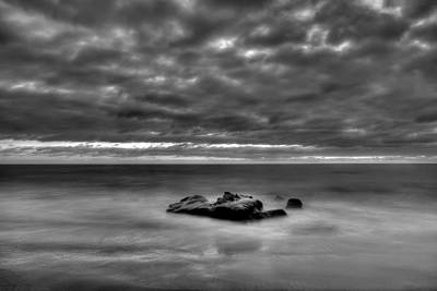 Solitary Rock - Black And White Art Print by Peter Tellone