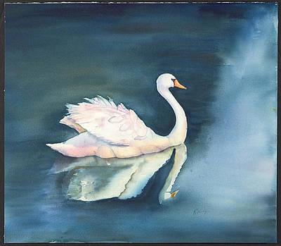 Solitary Swan Art Print by Bonny Lundy