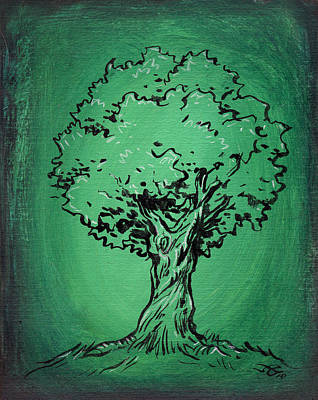Solitary Drawing - Solitary Tree In Green by John Ashton Golden