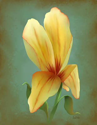 Painting - Solitary Yellow Tulip by Sena Wilson