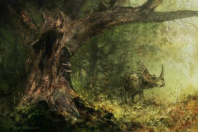 Solitude - Styracosaurus Art Print by Angie Rodrigues
