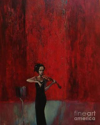 Expressionism Painting - Solo Violinist by Grigor Malinov