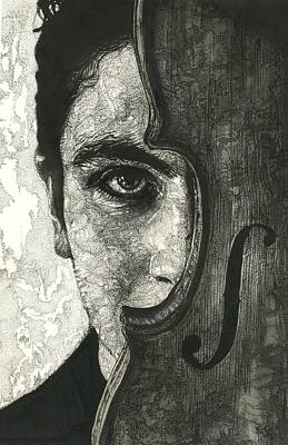 Wood Grain Drawing - Solo Vox  by Katie Gotch